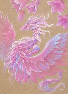 A beautiful floral canvas print of a pink dragon with flowing feathers. Fantasy art by, Alvia Alcedo. Fantasy Dragon, Fantasy Art, Pink Dragon, Dragon Artwork, Dragon Print, Canvas Prints, Art Prints, Spring Flowers, Art Impressions