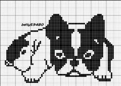 grille bouldogue - Blog de betty59480 - Skyrock.com Beaded Cross Stitch, Cross Stitch Charts, Cross Stitch Designs, Cross Stitch Embroidery, Embroidery Patterns, Cross Stitch Patterns, Filet Crochet Charts, Knitting Charts, Knitting Stitches