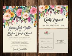 Bold Bohemian Floral Wedding Invitation Set by papernpeonies