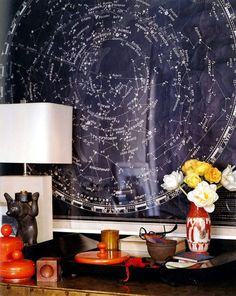 celestial maps - great for wall above dresser in kid's room instead of mirror, complimented by glow in the dark constellations on ceiling! Celestial Map, Star Chart, Amber Interiors, Design Blog, Design Art, Grafik Design, My New Room, Elle Decor, Interiores Design
