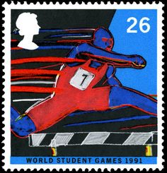 World Student Games 1991 - Hurdling. Great Britain stamp issued 11 June 1991…