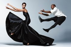 Wall Street Journal November 2014: Joan Smalls & Lil Buck | TAKE FLIGHT | On her: Dolce & Gabbana Alta Moda dress, price upon request, available...