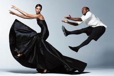 ストリート・ダンサー、リル・バックさんのバレエ的動き  テネシー州メンフィスで独自に発展した「ジューキン」というダンス・スタイルを得意とするリル・バックさんはストリート・ダンサーだ。スーパーモデルのジョアン・スモールズさんとコラボした写真は、古典バレエとジューキンを融合させ、魅力が増した彼の最高の動きを披露する。