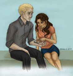 meabhd: Draco and Hermione. I think that after everything that happened Draco was ashamed of what he was a part of. He probably tried to hid his Dark Mark all the time or what was left of it. Hermione is probably the only person he ever showed it to afterwards.