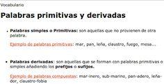 palabras primitivas y derivadas 2do grado de primaria - Buscar con Google