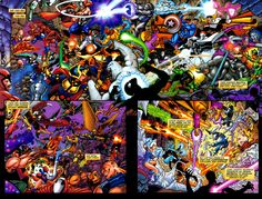 """Oh, good freakin' beezlenuts...""  as Pérez or (more likely) writer/cohort Kurt Busiek later said about this battle for realities in ""AVENGERS/JLA"" #4, from spring 2004.  --((So many) characters © either DC Comics/Entertainment or Marvel Comics/Entertainment, plus respective parent companies. Don't ask me to point out whom to which.)--"