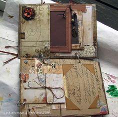 Vintage style junk journal pages Mini Albums Scrap, Mini Scrapbook Albums, Handmade Journals, Handmade Books, Handmade Notebook, Altered Books, Altered Art, Scrapbooking Technique, Junk Journal