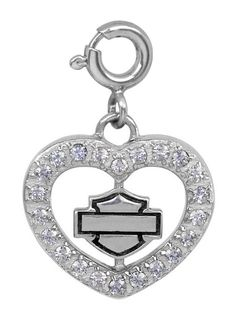 Pave CZ Heart With Spinning B & S Logo