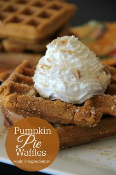 Pumpkin Pie Waffles {only 3 ingredients} gluten free and traditional versions