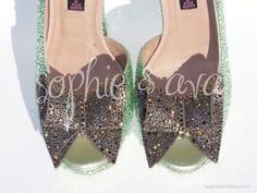 Custom Crystal Shoes  Steve Madden Rosale in Chrysolite & Greige  Swarovski crystal shoes hand embellished by Sophie & Ava (SophieAndAva.com)  Special thanks to @Harmony Gagnon-Man Importing & @Jane Jones Creations