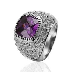 White Gold Plated Ring Jewel Purple Zirconia And Swarovski Elements Ring