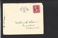 HARTFORD CITY, INDIANA COVER, 1902.  R.F.D. AND 1 IN BARS.  BLACKFORD 1854/OP VF