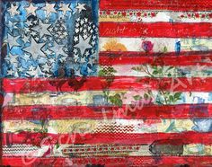 Creative Gift Ideas by SchulmanArt: Stars and Stripes Rectangular Canvas Pillow: This painting pictures a whimsical American flag. The patriotic art has lots of texture in its stars and stripes. You will be in the spirit with the red, white and blue! Painting Pictures, Pictures To Paint, Watercolor Paintings, Original Paintings, Watercolor Ideas, American Flag Painting, Flag Art, Patriotic Decorations, Patriotic Crafts