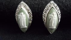 Vintage England Jasperware Wedgwood Silver Signed Clip on Earrings EUC- Marquise