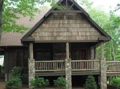 Gable porch with pediment. poplar bark on porch gable Stone Exterior Houses, Exterior House Colors, Country Home Exteriors, House Exteriors, Porch Gable, Wood Shingles, Mountain Modern, Screened In Porch, River House