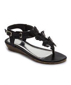 Black Butterfly Glitter Sandal