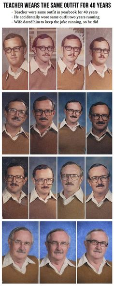 Funny pictures about Teacher wears same outfit for 40 years. Oh, and cool pics about Teacher wears same outfit for 40 years. Also, Teacher wears same outfit for 40 years. Funny Pins, Funny Memes, Jokes, Funny Stuff, Random Stuff, Car Memes, Random Things, Funny Cute, The Funny
