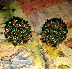 Sale Vintage Coro Signed Green Rhinestone Goldtone Earrings by ArtsyMysticDesigns on Etsy Antique Jewelry, 1950s, My Etsy Shop, Signs, Antiques, Earrings, Green, Vintage, Check
