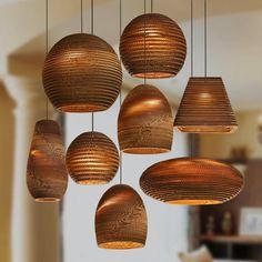 Luminaria Corrugated Board Pendant Light – Tudo And Co Bamboo Pendant Light, Rustic Pendant Lighting, Pendant Light Fixtures, Pendant Lights, Pendant Lamps, Glass Wall Lights, Hanging Ceiling Lights, Hanging Lamps, Ceiling Lighting