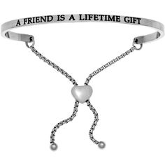 A FRIEND IS A LIFETIME GIFT Stainless Steel Adjustable Bracelet w/... (51 CAD) ❤ liked on Polyvore featuring jewelry, bracelets, diamond bangles, stainless steel bangles, stainless steel jewellery, adjustable bangle and diamond jewellery