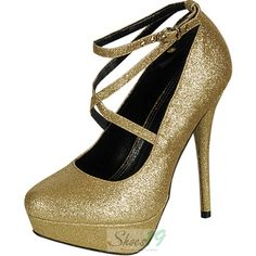 Trendsup Glam-2 Mary Jane Gold Glitter Platform Pumps - Round Toe Classic Pumps Clubbing Wedding Prom Fashion Style Bridal Interview Work Graduation $24.99