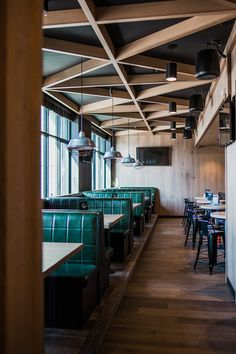 Ceilings + Green Leather Banquettes + Restaurant & Bar Design on the BLOG | mckinley burkart - architecture + interior design