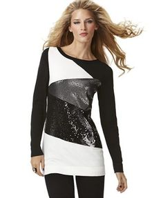 This top reminds me of New Year's in New York...  INC International Concepts Sweater, long sleeve colorblock sequin tunic.