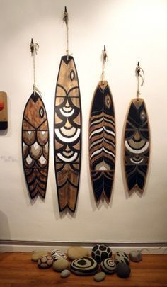 Tiki Faces, Palm Frond Art, Awesome Woodworking Ideas, Woodworking Plans, Woodworking Projects, Original Paintings, Original Art, Wood Fish, Painted Sticks
