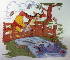Set of 3 Winnie the Pooh Cross Stitch Set by JustinReneeDesigns