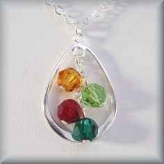 Mothers Birthstone Necklace  Teardrop Family Grandmother Sterling Silver 4 Swarovski Crystals by Bonny Jewelry (SN411A)