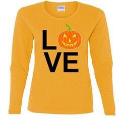 Pumpkin Love Halloween Ladies Missy Fit long sleeve T-Shirt