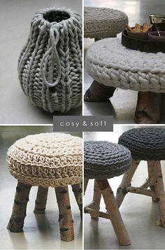 warm & cozy knits by the style files zpagetti garn? Eco Deco, Crochet Projects, Diy Projects, Stool Covers, Seat Covers, Crochet Home Decor, Diy Crochet, Crochet Ideas, Crochet Poncho