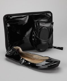 Take a look at this Black Patent Foldable Ballet Flat & Carrying Case by City Slips on #zulily today!