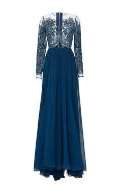Embroidered Silk Tulle And Georgette Gown by Elie Saab for Preorder on Moda Operandi