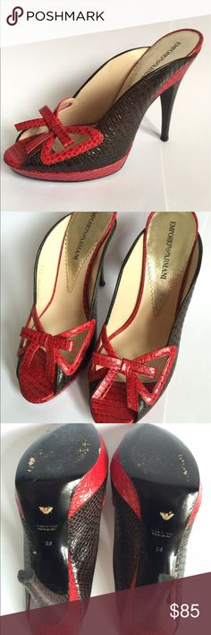 Armani Open-Toed Embossed Leather Mule Slide Heels Worn only a few times, in perfect condition with no damage at all! Beautifully embossed red leather. An authentic Armani product. Don't miss these! Emporio Armani Shoes Mules & Clogs