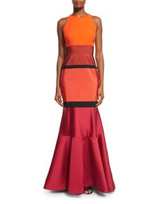 Sleeveless+Colorblock+Mermaid+Gown,+Fire/Fuchsia/Noir+by+J.+Mendel+at+Neiman+Marcus.