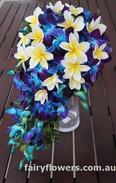 frangipani orchids bridal bouquet teardrop wedding flowers.jpg 339×535 pixels