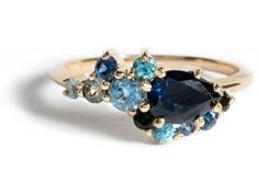 Custom Pear Sapphire Cluster Ring
