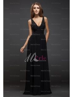 Front:Elegant Sheath/Column V-neck Sleeveless Beading Lace Floor-Length Chiffon Dresses