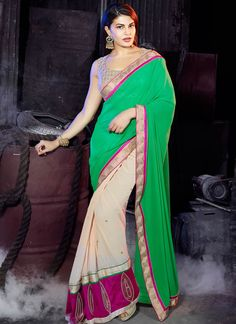 Green Georgette Half N Half Saree With Patch Work
