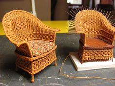 Dollhouse Miniature Furniture - Tutorials | 1 inch minis: 1 INCH SCALE WICKER CHAIR TUTORIAL - How to make a 1 inch scale wicker chair for your dollhouse.