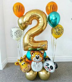 2nd Birthday Party For Girl, Safari Theme Birthday, Safari Party, Birthday Balloon Decorations, Birthday Balloons, Balloon Gift, Balloon Bouquet, Diy, Kids Art Party