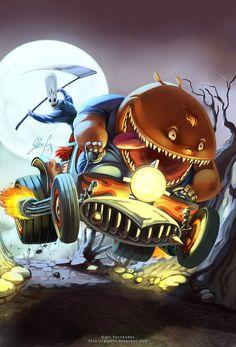 Grim Fandango fanart by Axigan on DeviantArt - Tearin' through the forest on the Bone Wagon!