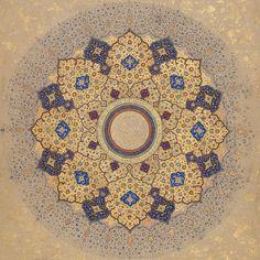 Azul y oro mandala. This is one of the most beautiful mandalas I have ever seen. It is a Persian design. Islamic World, Islamic Art, Arabesque, Empire Moghol, Le Far West, Illuminated Manuscript, Heritage Image, Sacred Geometry, Metropolitan Museum