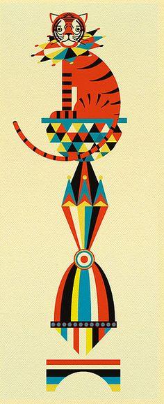 Circus Tiger I Patrick Hruby Illustration Design Graphique, Art Graphique, Graphic Illustration, Graphic Art, Circus Art, Circus Poster, Art Design, Retro, Illustrations Posters