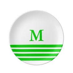 #stripes - #Summer Green Four Stripe Monogram on White Plate