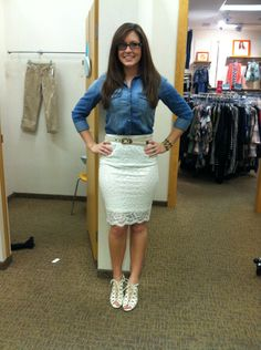 lace pencil skirt + denim shirt + lace up wedges #maurices