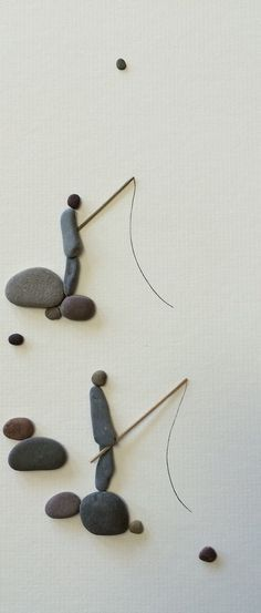 8 by 15 two fishermen pebble art by sharon nowlan by PebbleArt