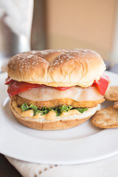 Crispy Cauliflower Burger with Spicy Hummus-Mayo, Roasted Red Peppers and Melted Provolone Cheese