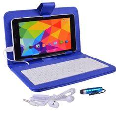 Maxwest Nitro Phablet71 Dual-Core 8GB 7 Unlocked Phone-Tablet w-4G Dual-SIM Android 4.4 Case Keyboard (Dark Blue)